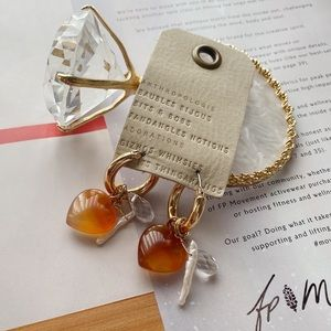 NWT Anthropologie Stone Heart Hoop Earrings